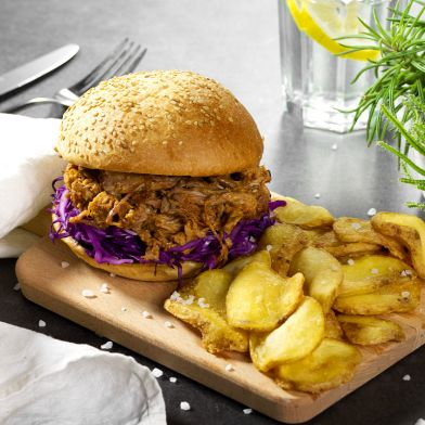 Pulled pork burger 180g e patatine dippers
