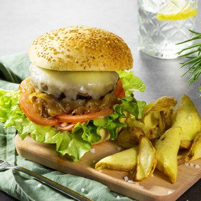 Burger di Sorana con asiago e cipolla caramellata 150g