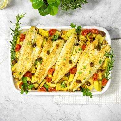Teglia di filetti di branzino al forno alla mediterranea 4 porzioni